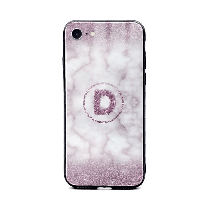 Glitter Marble with Round Initial - iPhone 8 Glass Phone Case design-your-gift.