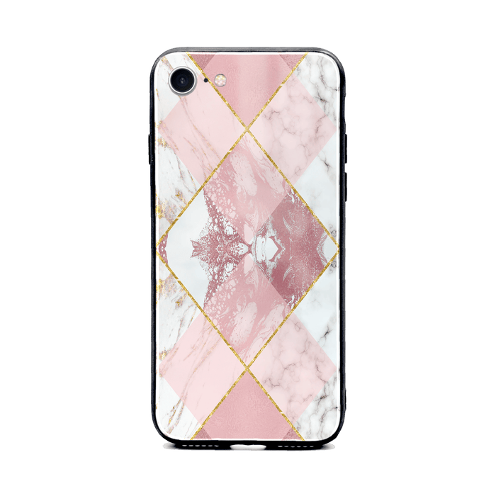 iphone 8 glass phone case printed with seamless white and rose marble patterns design 1