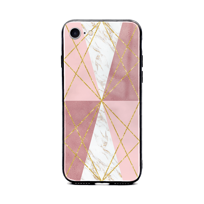 iphone 8 glass phone case printed with seamless white and rose marble patterns design 2