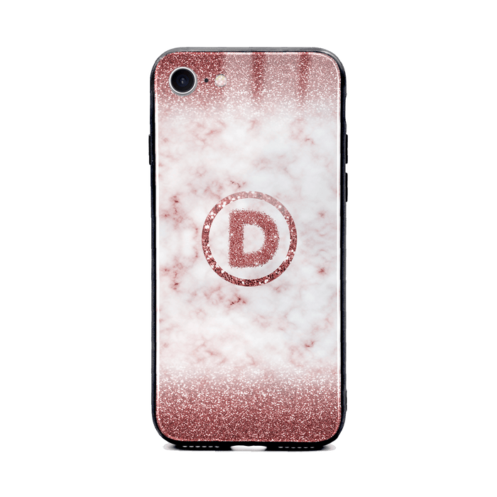 Custom initial iPhone 8 Glass phone case with rouge glitter and marble effect and round shape
