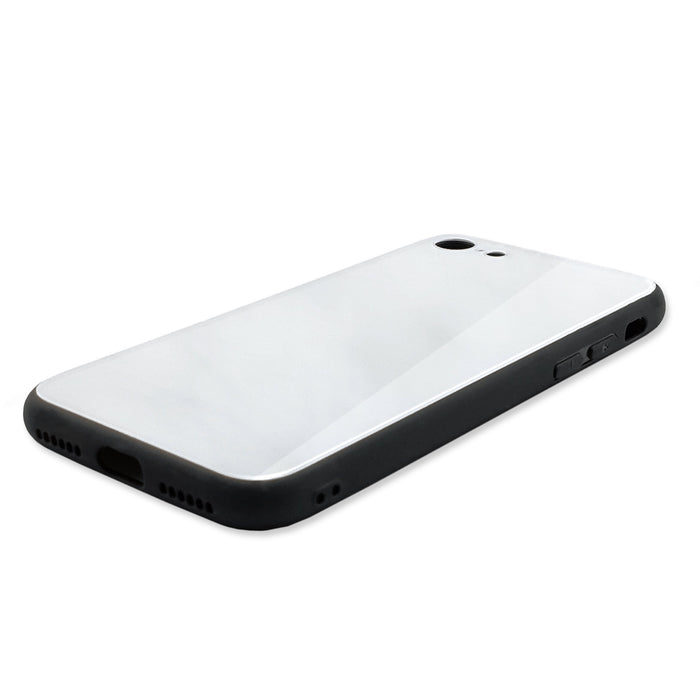 Blank iPhone 8 Glass phone case with black rubber edges side 2