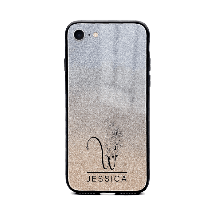 iphone 8 glass phone case personalised with floral initial and name printer on silver glitter ombre