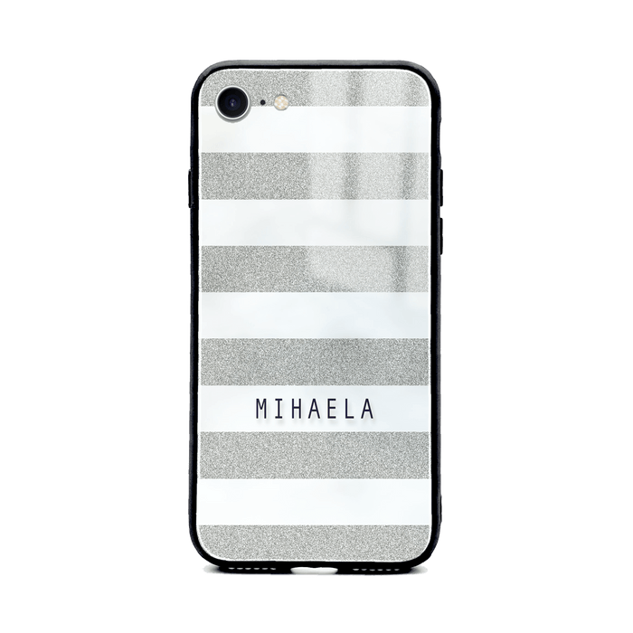 Glitter Stripes - iphone 8 Name Glass Phone Case design-your-gift.