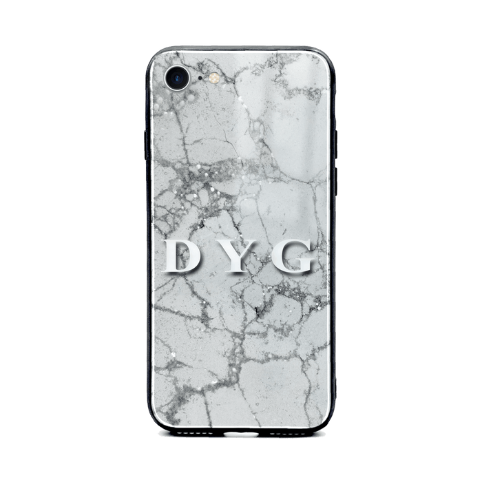 iphone 8 glass phone case personalised with initials on sparkling silver pearl marble