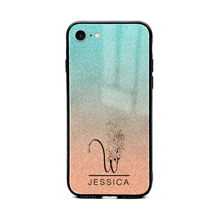 iphone 8 glass phone case personalised with floral initial and name printer on Turquoise & peach glitter ombre