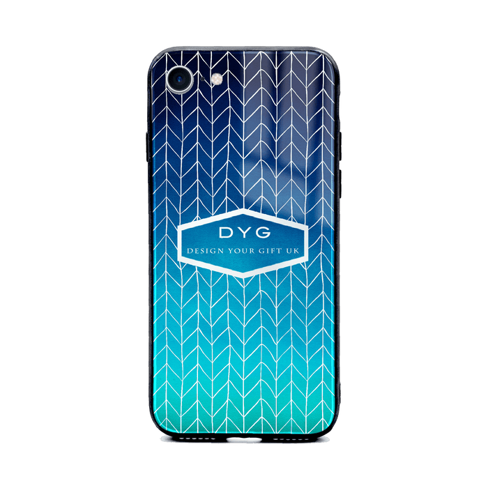 Custom initials iPhone 8+ Glass phone case printed with hollow zigzag pattern blue sea colour theme