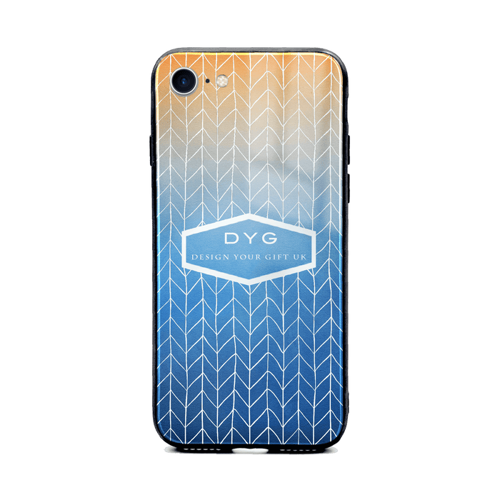 Custom initials iPhone 8+ Glass phone case printed with hollow zigzag pattern blue sky colour theme