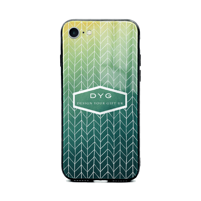 Custom initials iPhone 8+ Glass phone case printed with hollow zigzag pattern green lake colour theme