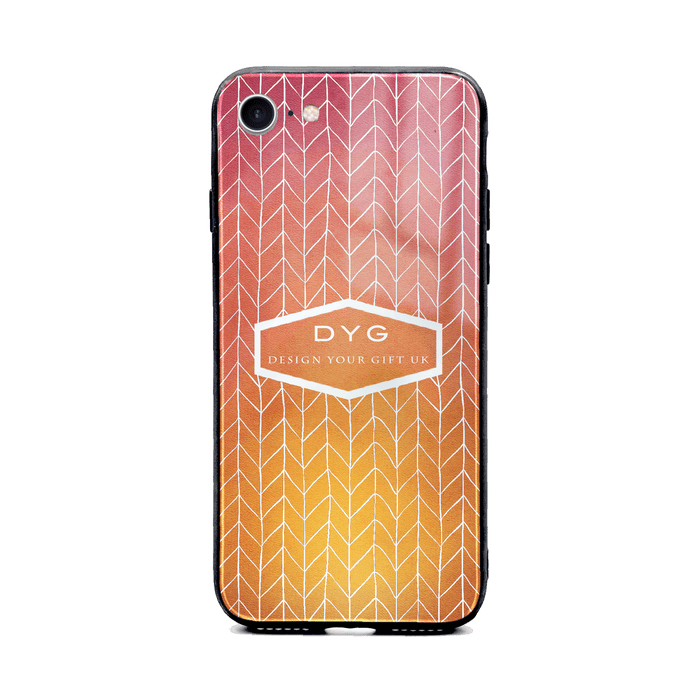 Custom initials iPhone 8+ Glass phone case printed with hollow zigzag pattern hot summer colour theme