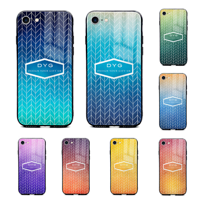 Custom text iPhone 8 Glass phone case printed with hollow zigzag pattern available in 8 colours