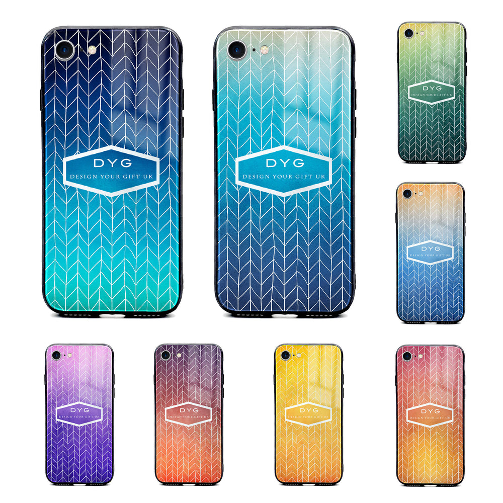Custom text iPhone 8+ Glass phone case printed with hollow zigzag pattern available in 8 colours