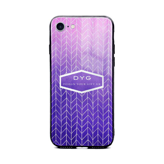 Custom initials iPhone 8+ Glass phone case printed with hollow zigzag pattern purple colour theme