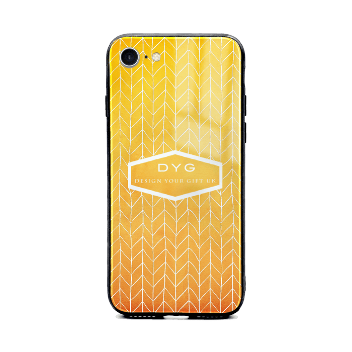 Custom initials iPhone 8+ Glass phone case printed with hollow zigzag pattern summer colour theme