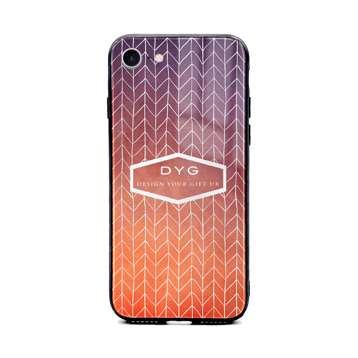 Custom initials iPhone 8+ Glass phone case printed with hollow zigzag pattern sunset colour theme