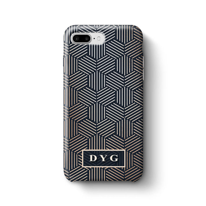Glossy Geometric Pattern With Initials iPhone 8 Plus 3D Phone Case Black