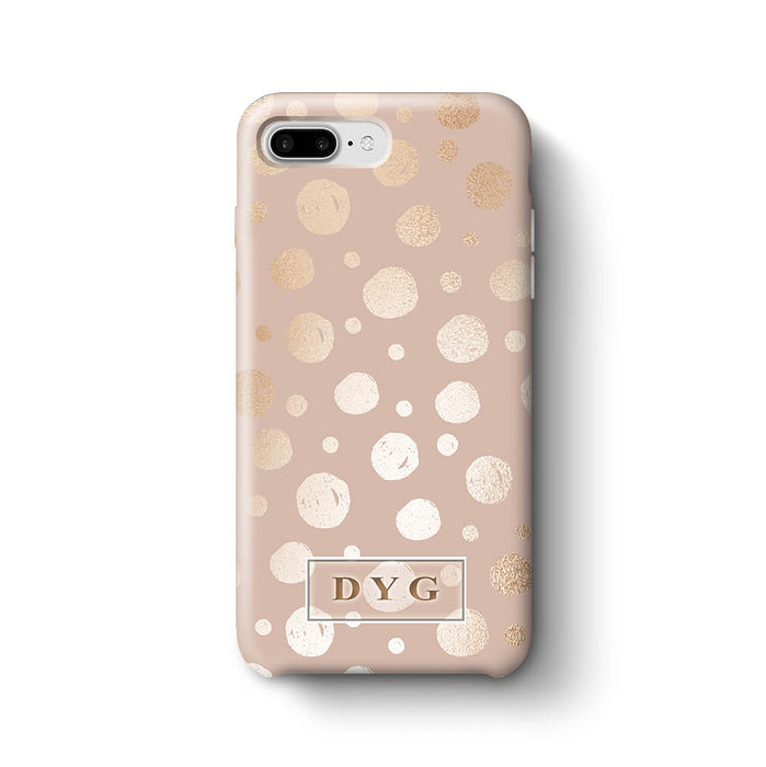 Glossy Dots With Initials - iPhone 8 Plus 3D Custom Phone Case design-your-gift.