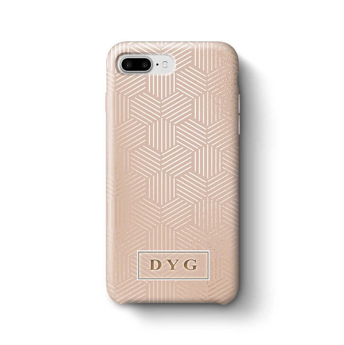 Glossy Geometric Pattern With Initials iPhone 8 Plus 3D Phone Case Champagne