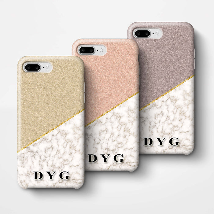 Gold Marble & Glitter With Initials iPhone 8 Plus 3D Custom Phone Case Variants