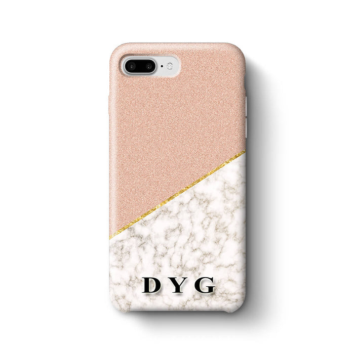 Gold Marble & Glitter With Initials iPhone 8 Plus 3D Custom Phone Case peach