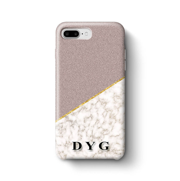 Gold Marble & Glitter With Initials iPhone 8 Plus 3D Custom Phone Case purple