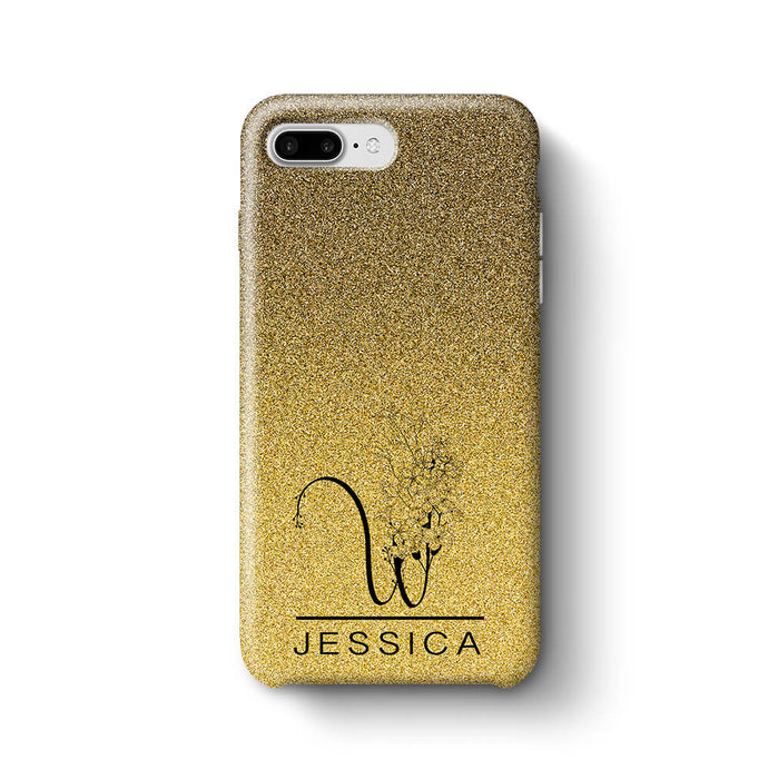 huge discount 7b038 a51d8 Glitter Floral Initial and Name | Personalised iPhone 8 Plus 3D Case