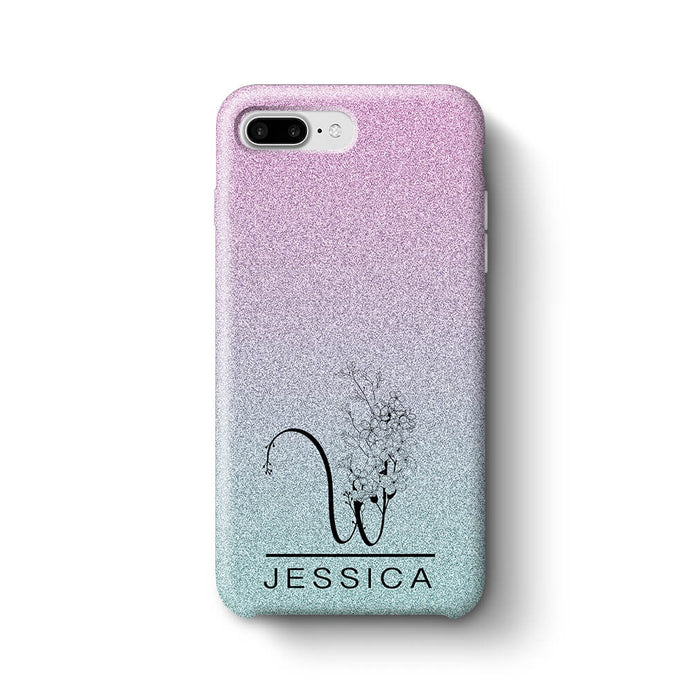 cheap for discount 6515f 44d75 Glitter Floral Initial and Name | Personalised iPhone 8 Plus 3D Case ...