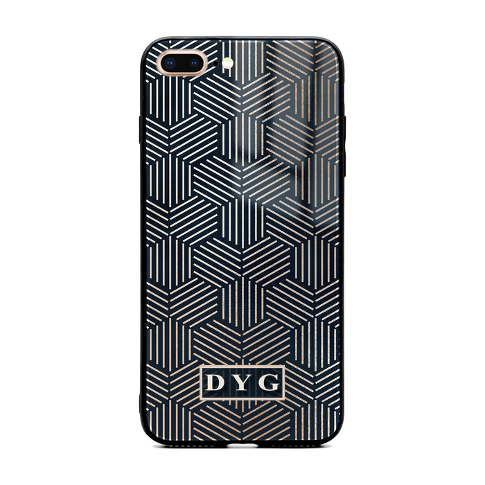 Glossy Geometric Pattern with Initials - iPhone Glass Phone Case design-your-gift.