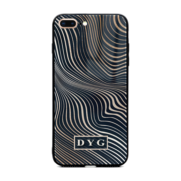 Glossy Waves with Initials - iPhone Glass Phone Case design-your-gift.