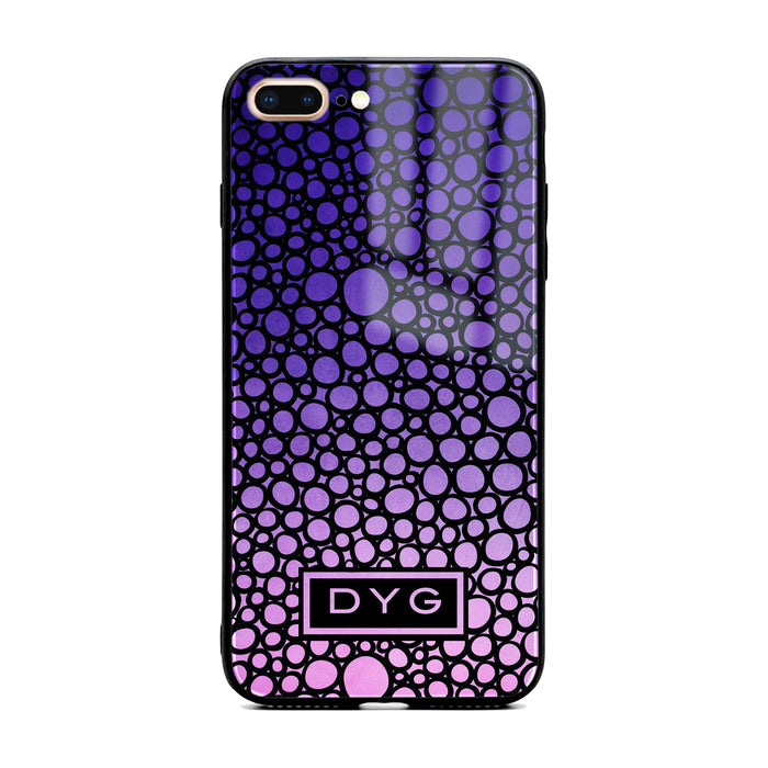 Bubble Hollow Ombre with Initials - iPhone Glass Phone Case design-your-gift.