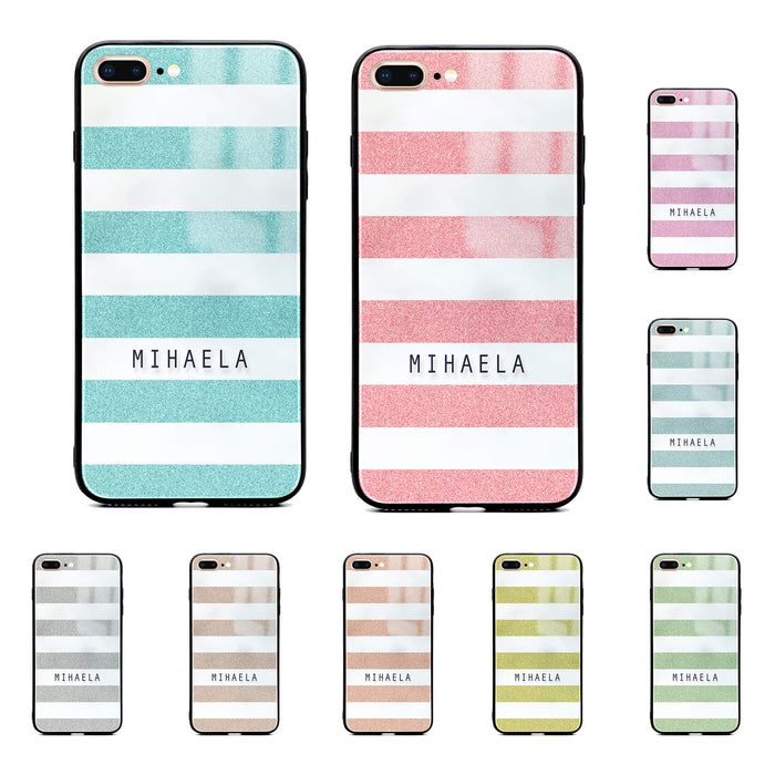 Glitter Stripes - iPhone Name Glass Phone Case design-your-gift.