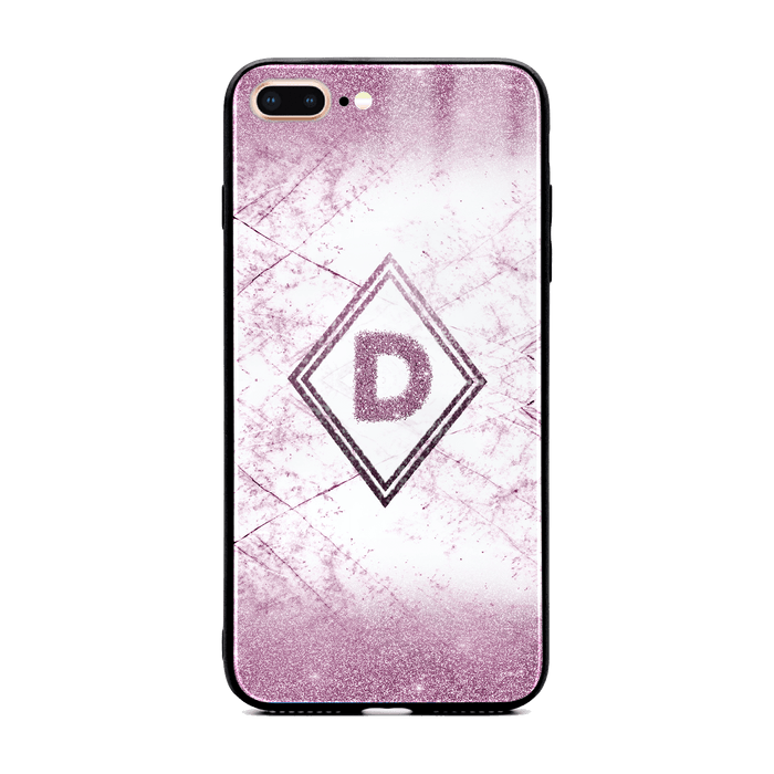 Glitter Marble Diamond with Initial - iPhone Glass Phone Case design-your-gift.