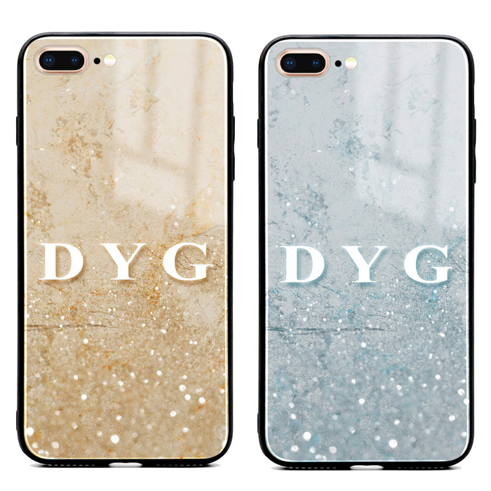Sparkling Marble with Initials - iPhone 8 Plus Glass Phone Case design-your-gift.