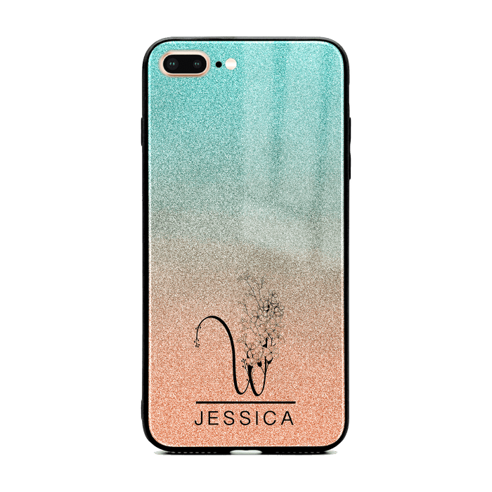 Glitter Ombre Floral Initial and Name - iPhone Glass Phone Case design-your-gift.