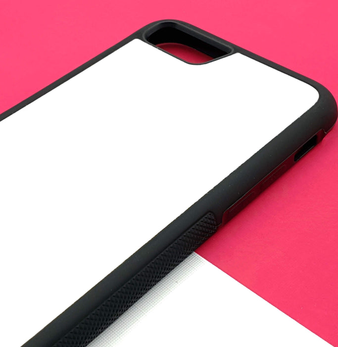 iPhone 8 Black Rubber Phone Case | Bubble Hollow and Initial - Blank