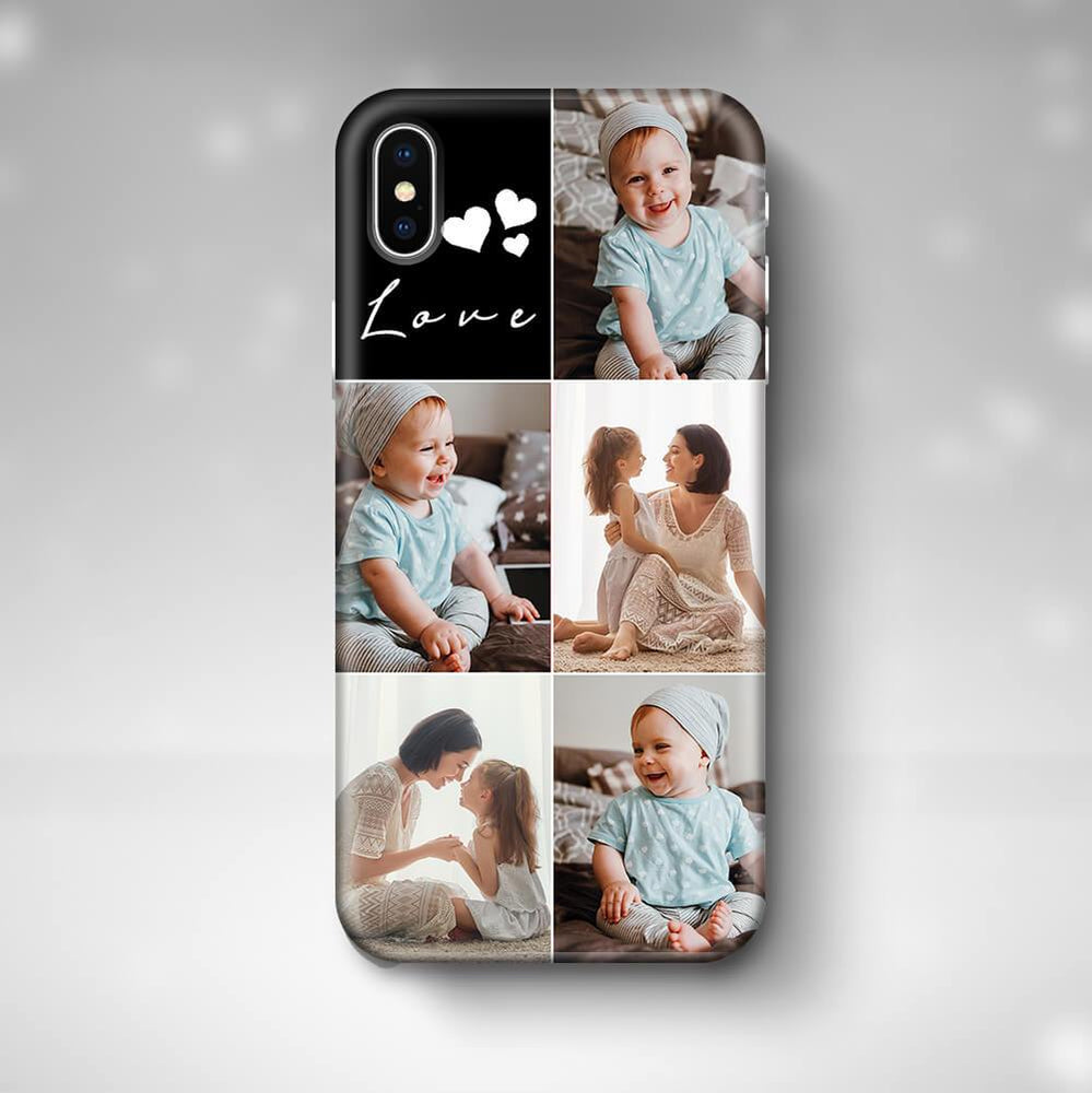 5 Photo Collage iPhone X 3D Personalised Phone Case designyourgift.co.uk