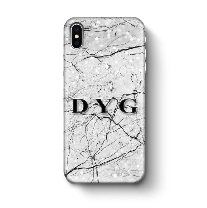 Marble Veins With Initials iPhone X 3D Personalised Phone Case black