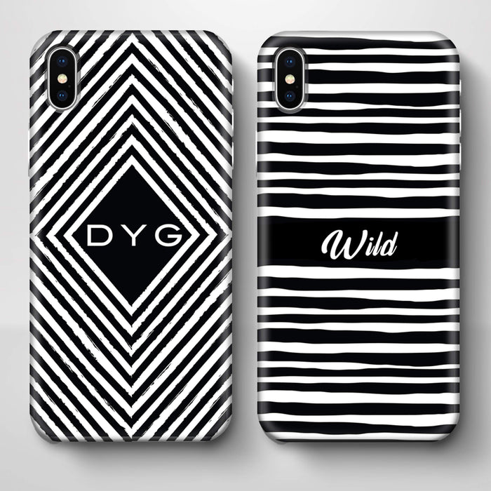 Black & White Patterns with Initial iPhone X 3D Custom Phone Case variants