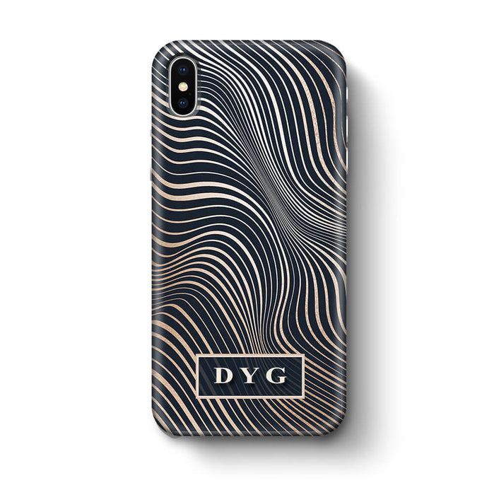 Glossy Waves With Initials iPhone X 3D Custom Phone Case black