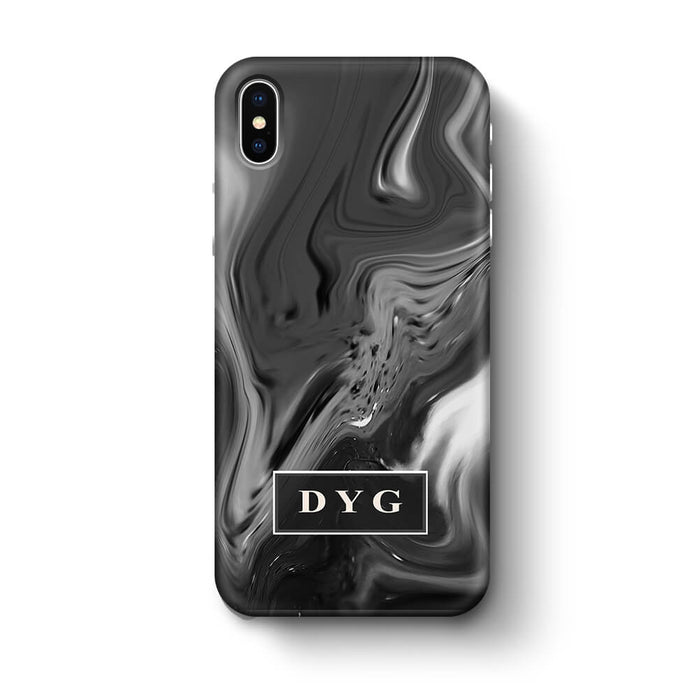 Liquid Marble With Initials iPhone X 3D Personalised Phone Case black