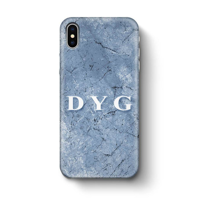 Blue Marble With Initials iPhone X 3D Custom Phone Case blue cave
