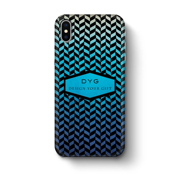 Geometric Hollow Design With Text iPhone X 3D Custom Phone Case blue lagoon