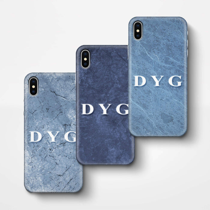 Blue Marble With Initials iPhone X 3D Custom Phone Case 3 variants