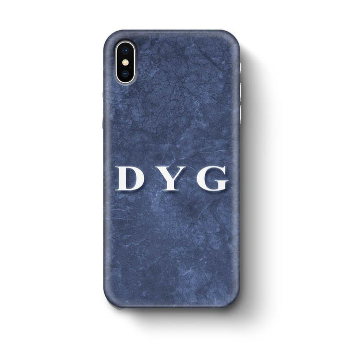 Blue Marble With Initials iPhone X 3D Custom Phone Case blue noir