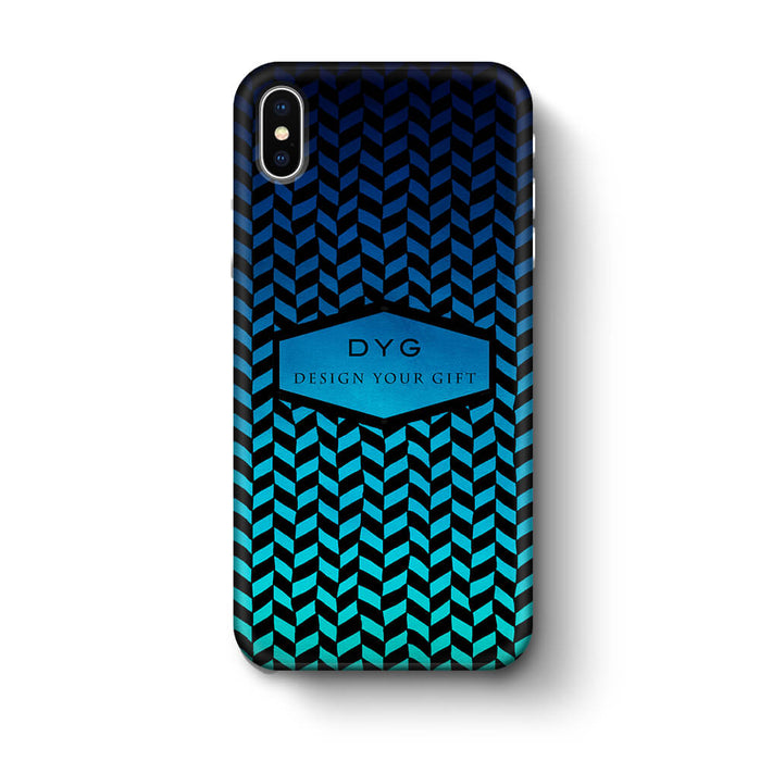 Geometric Hollow Design With Text iPhone X 3D Custom Phone Case blue sea