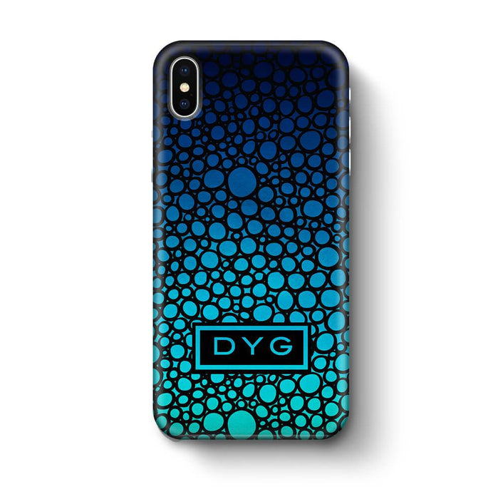 Bubbles Hollow with initials iPhone X 3D Personalised Phone Case Blue Sea