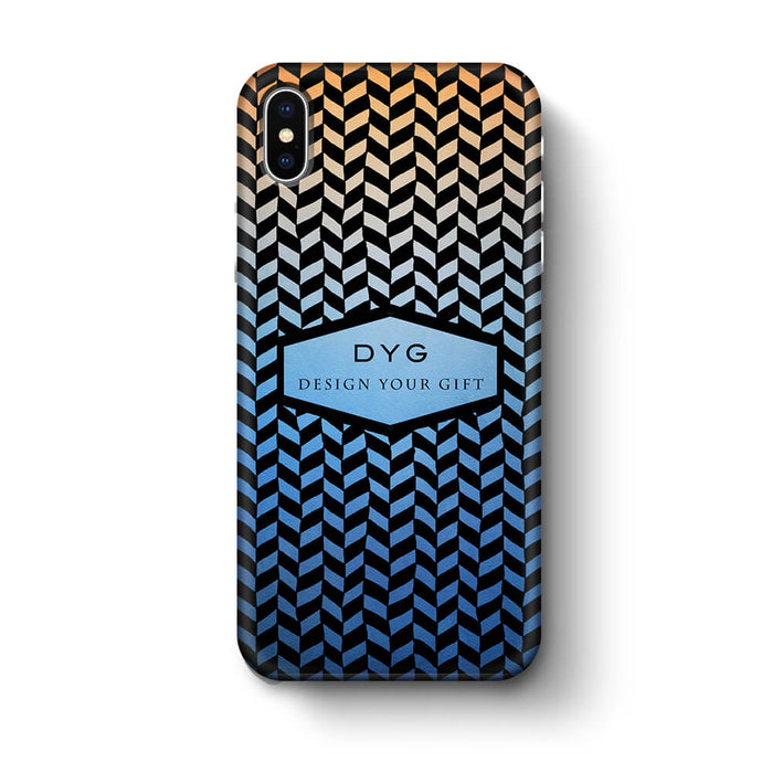 Geometric Hollow Design With Text iPhone X 3D Custom Phone Case blue sky
