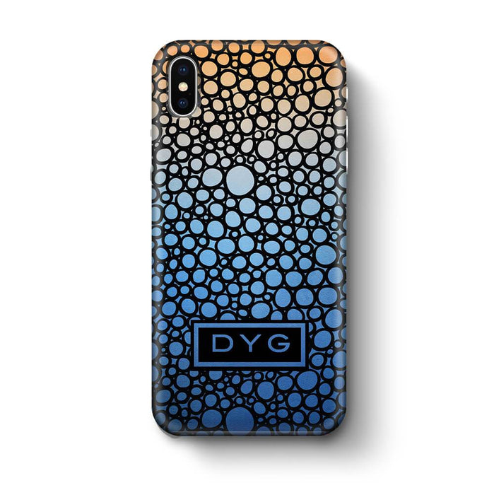 Bubbles Hollow with initials iPhone X 3D Personalised Phone Case blue sky