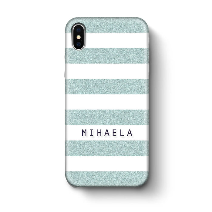 Glitter Stripes With Name iPhone X 3D Custom Phone Case blue