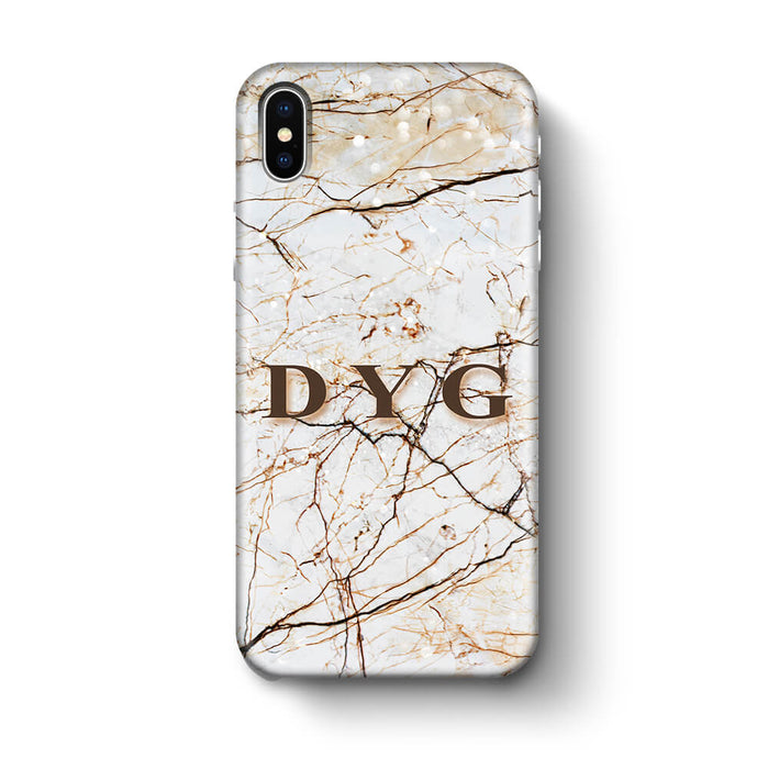 Marble Veins With Initials iPhone X 3D Personalised Phone Case brown