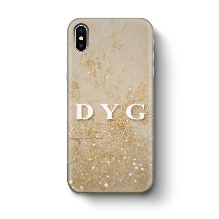 Glitter Marble With Initials iPhone X 3D Custom Phone Case cream